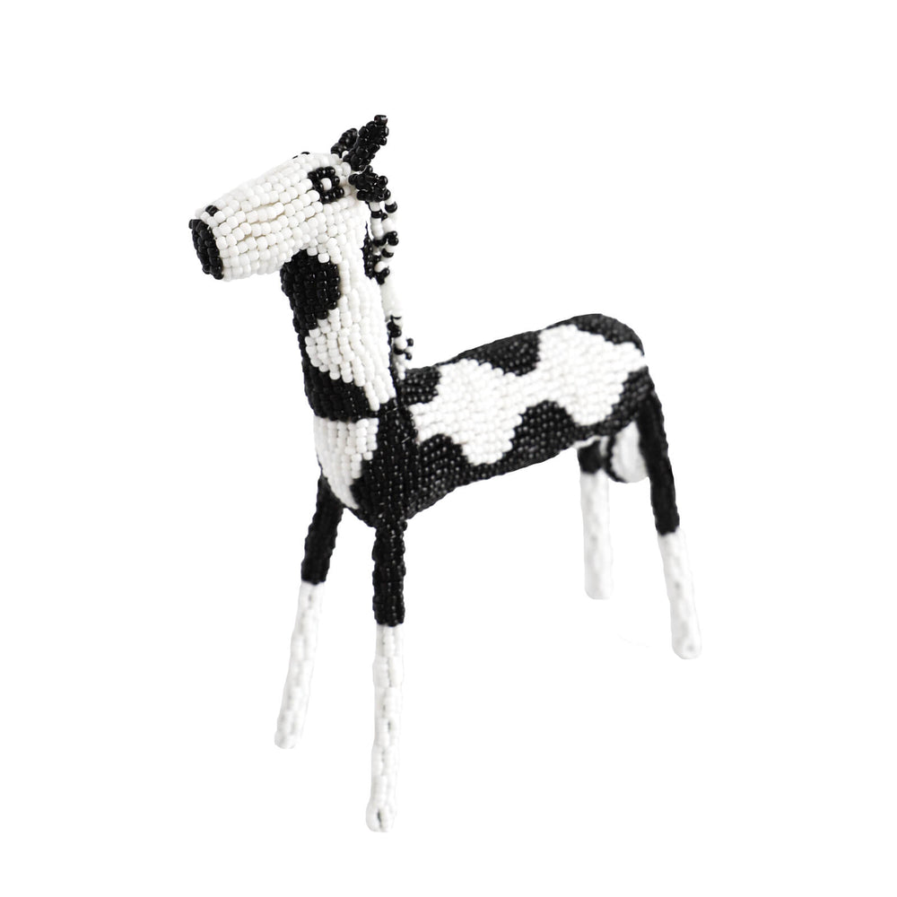 Hand Beaded Horse Sculpture - Black and White, 3