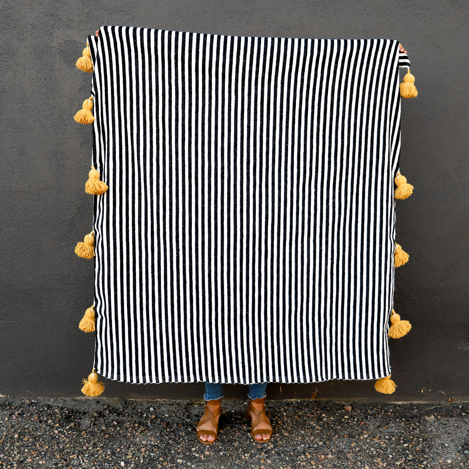 Authentic Hand Woven Moroccan Throw Blanket with Tassels - Black, White and Yellow