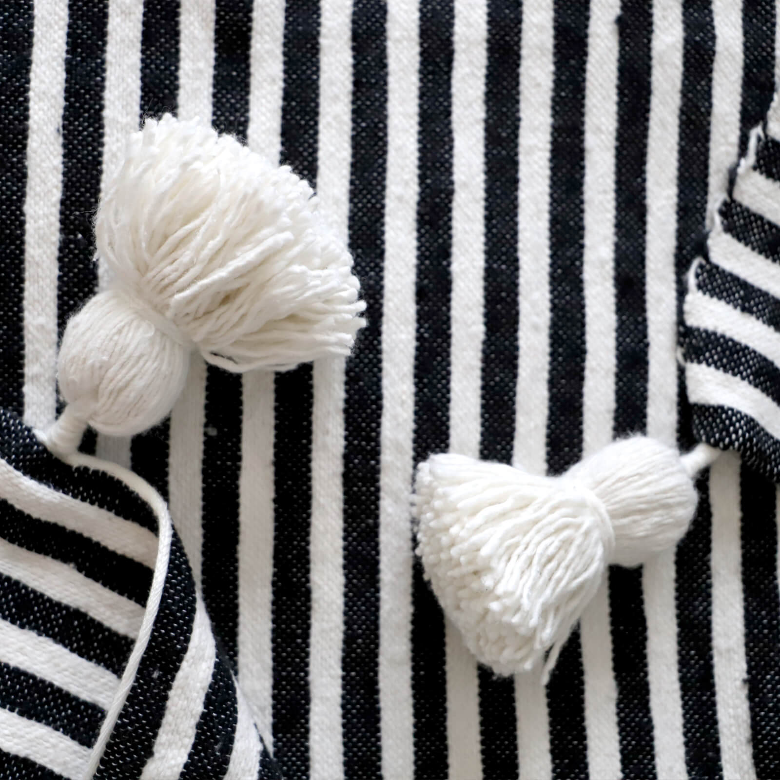Authentic Hand Woven Moroccan Throw Blanket with Tassels - Black and White with White Tassels