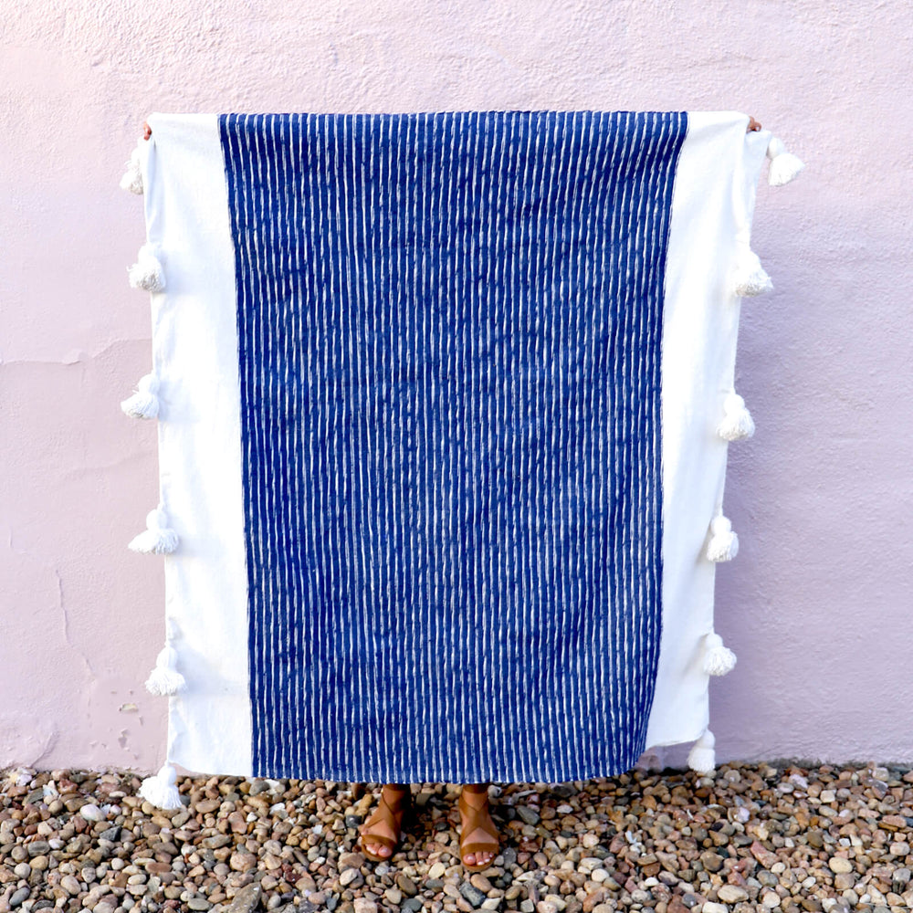 Authentic Hand Woven Moroccan Throw Blanket with Tassels - Navy and White