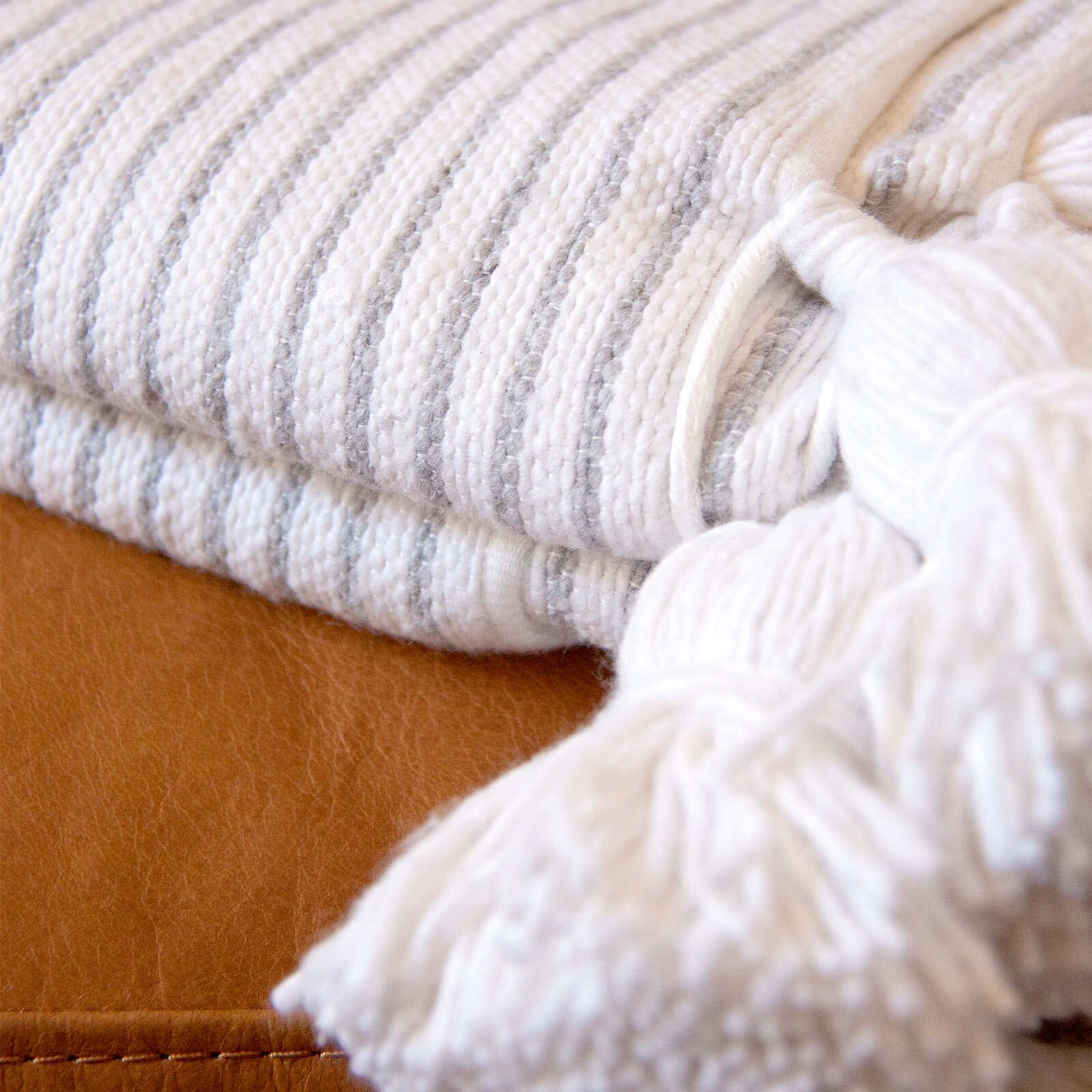 Authentic Hand Woven Moroccan Throw Blanket with Tassels, Cream and Grey Stripes