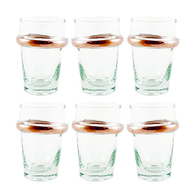 Moroccan Tea Glasses with Rose Gold Accents - Small