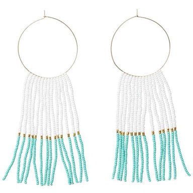 Large Hoop Earrings with Long Tassels - Turquoise, White and Gold
