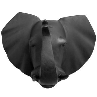 Hand Carved Elephant Head Trophy Wall Decor - Matte Black