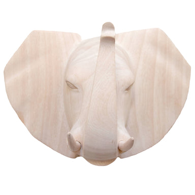 Hand Carved Elephant Head Trophy Wall Decor - Natural
