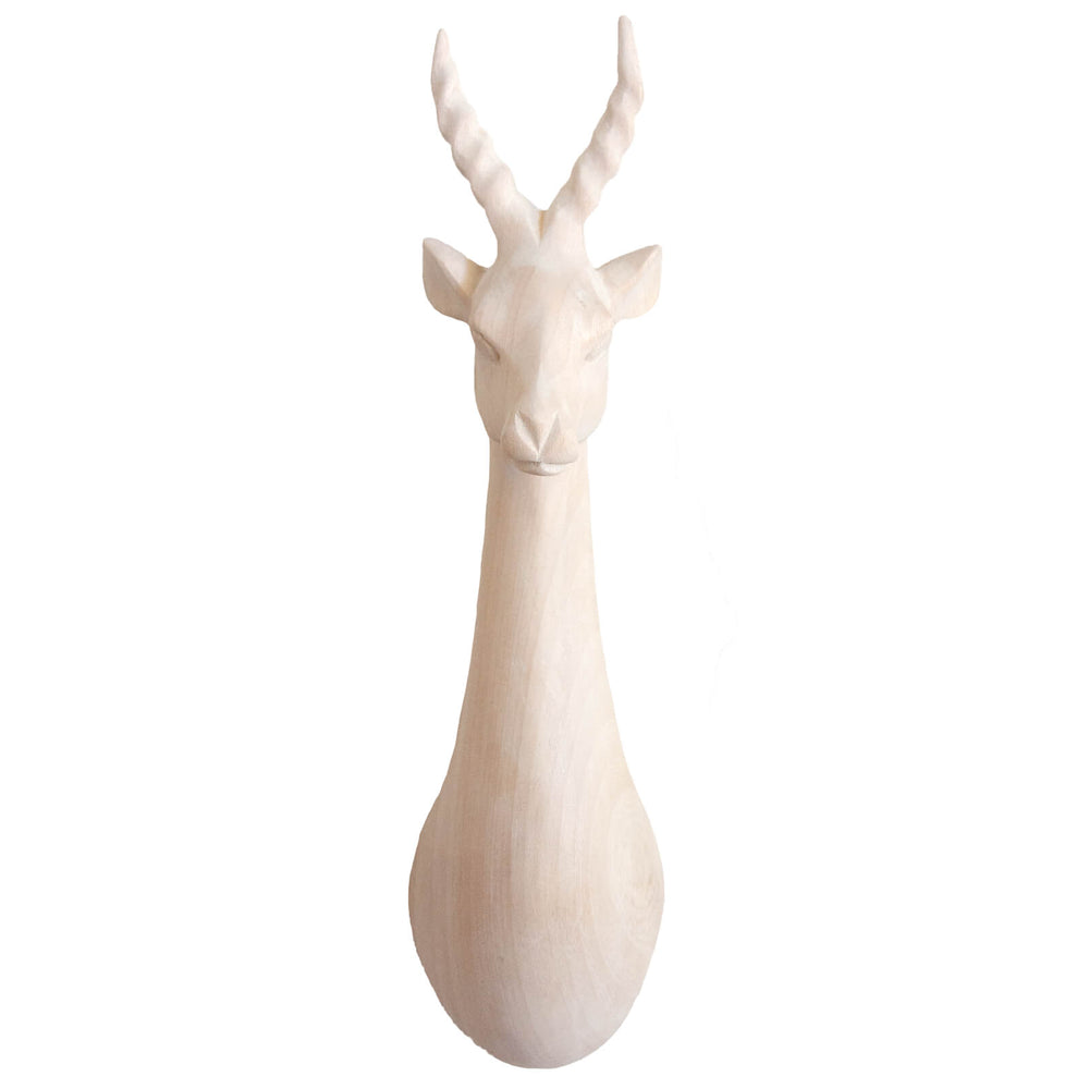 Hand Carved Impala Head Trophy Wall Decor - Natural Wood