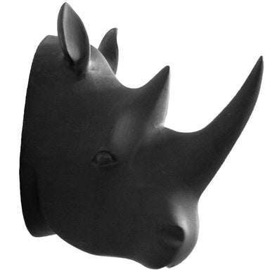 Hand Carved Rhino Head Trophy Wall Decor - Matte Black