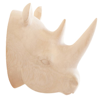 Hand Carved Rhino Head Trophy Wall Decor - Natural