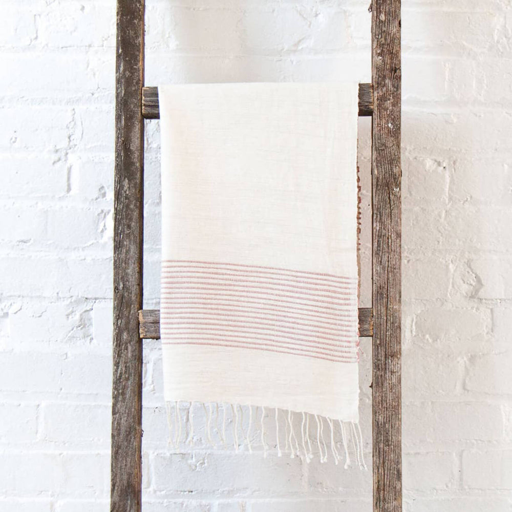 Ethiopian Cotton Hand Towel, Cream and Blush