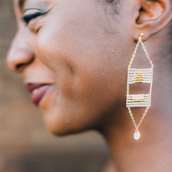 Beaded Samburu Earrings - Taupe, Pink and Gold