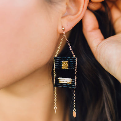 Beaded Samburu Earrings - Black, Cream and Gold