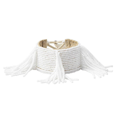 Pembatatu Leather Beaded Fringe Bracelet - White