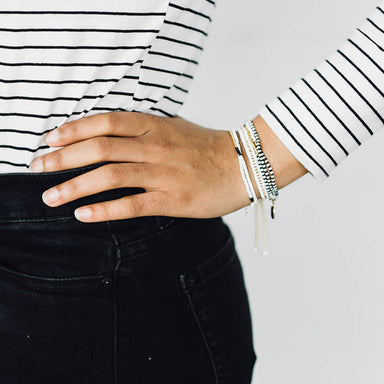 Elastic Tassel Wrap Bracelet, Black White and Gold
