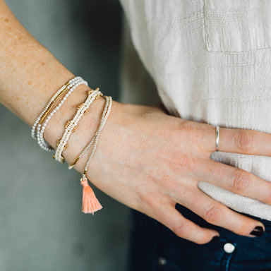 Elastic Tassel Wrap Bracelet, Cream and Gold
