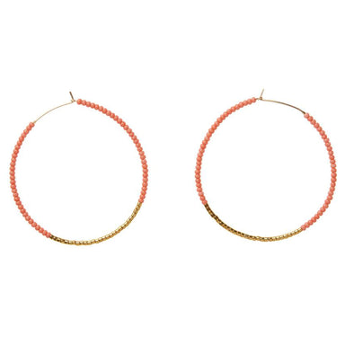 Large Hoop Earrings - Coral and Gold