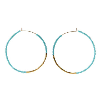 Large Hoop Earrings - Turquoise and Gold