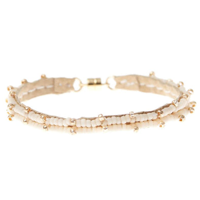 Beaded Leather Bracelet with Magnetic Closure - Dot, Pale Pink and Gold