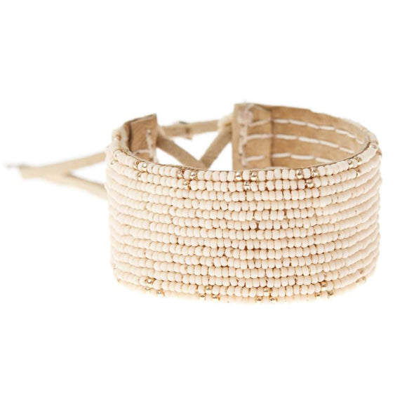Leather Beaded Cuff Bracelet - Pale Pink and Gold