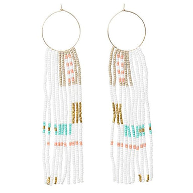 Medium Hoop Earrings with Long Tassels - Turquoise, White, Coral and Gold