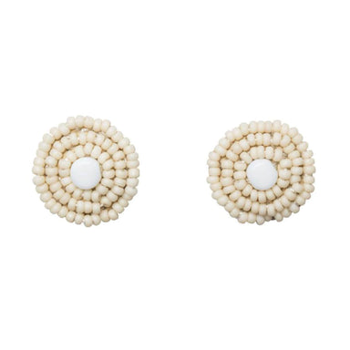 Pembatatu Leather Beaded Button Earrings - Cream