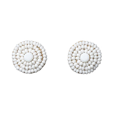 Pembatatu Leather Beaded Button Earrings - White