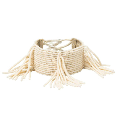 Pembatatu Leather Beaded Fringe Bracelet - Cream