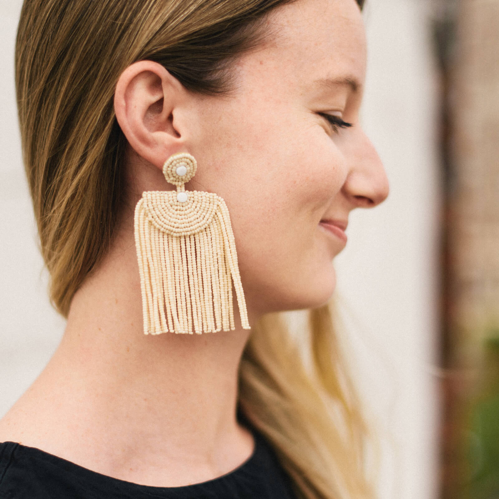 Pembatatu Leather Beaded Fringe Earrings - Cream