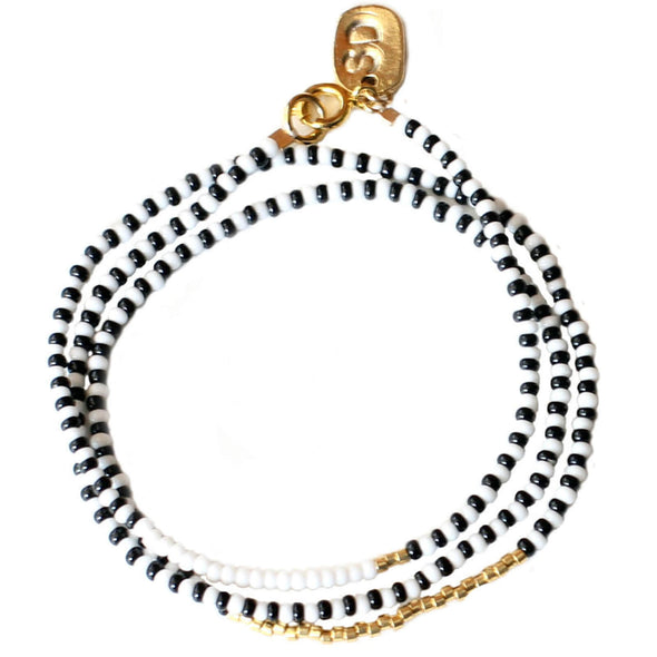 Beaded Triple Wrap Bracelet, Black and White, 24K Gold Plated Beads