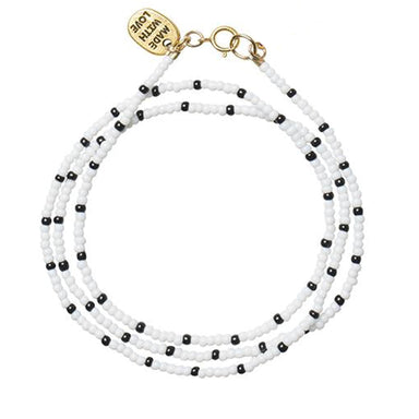 Beaded Triple Wrap Bracelet, Black and White