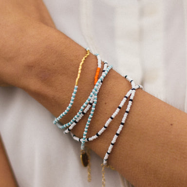 Beaded Triple Wrap Bracelet, Turquoise, White and Orange