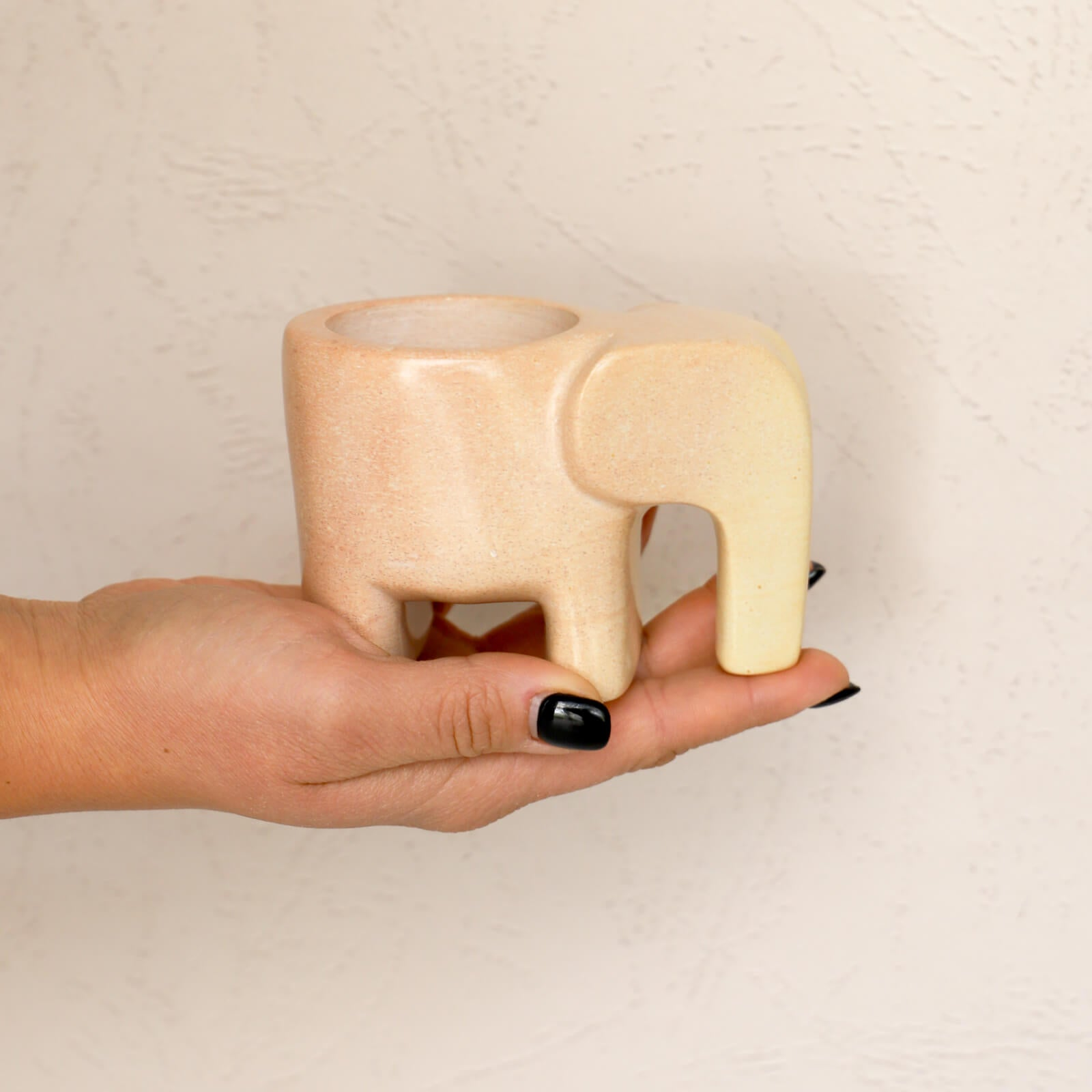 Small Soapstone Elephant Planter