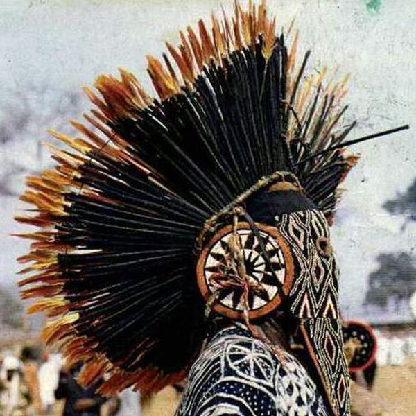Ceremonial costume of Bamileke man including juju hat