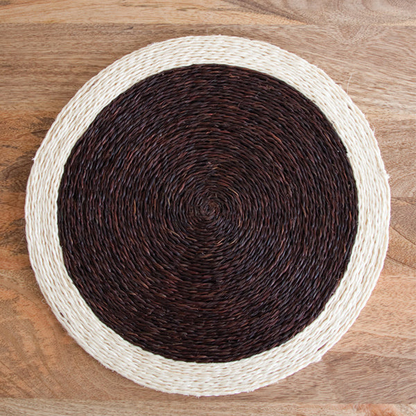 Hand woven circle placemat in chocolate brown and cream trim