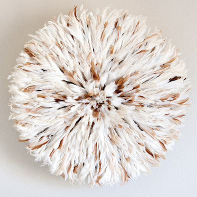 African Juju Hat - White and Tan Flecked