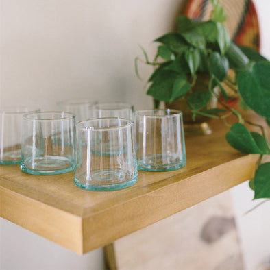 Moroccan Blown Glass Wine Tumblers - Set of 6