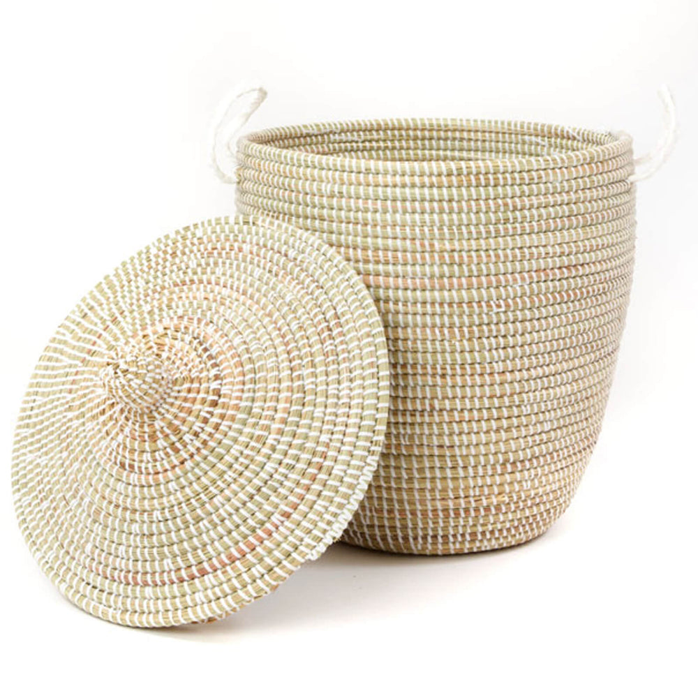 Woven African Lidded Hamper - White, Extra Large