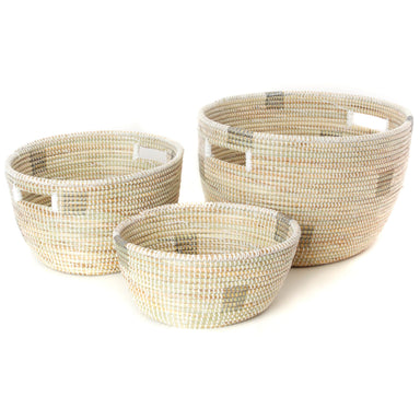Woven African Handled Storage Baskets - White and Silver