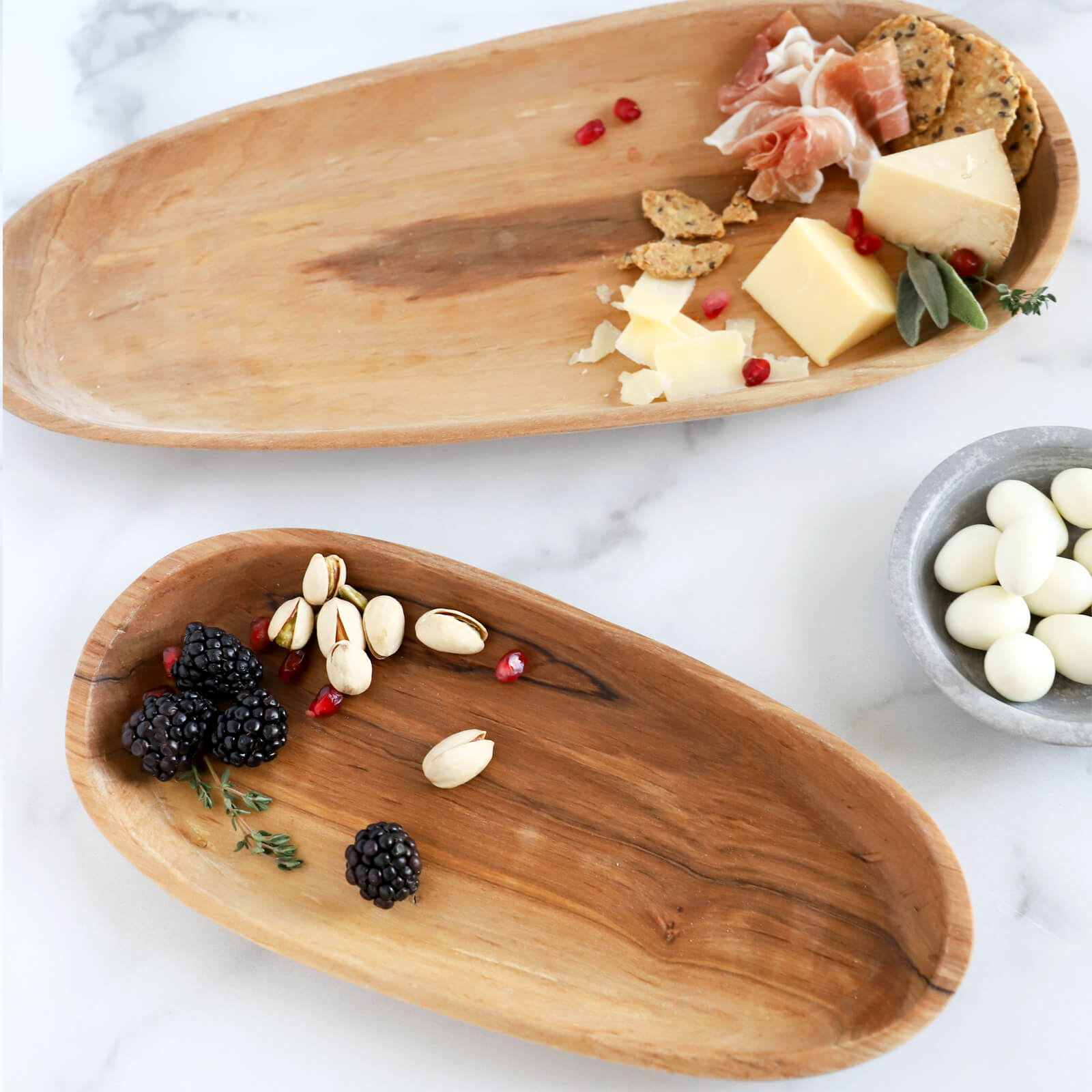 Hand Carved Wild Olive Wood Serving Tray - Oval