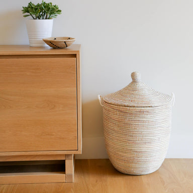 Woven African Lidded Hamper - White, Large