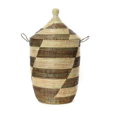 Woven African Lidded Hamper - Black and White, Large