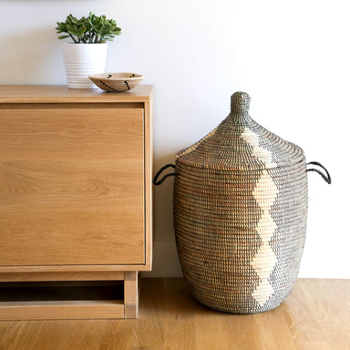 Woven African Lidded Hamper - Black and White, Extra Large