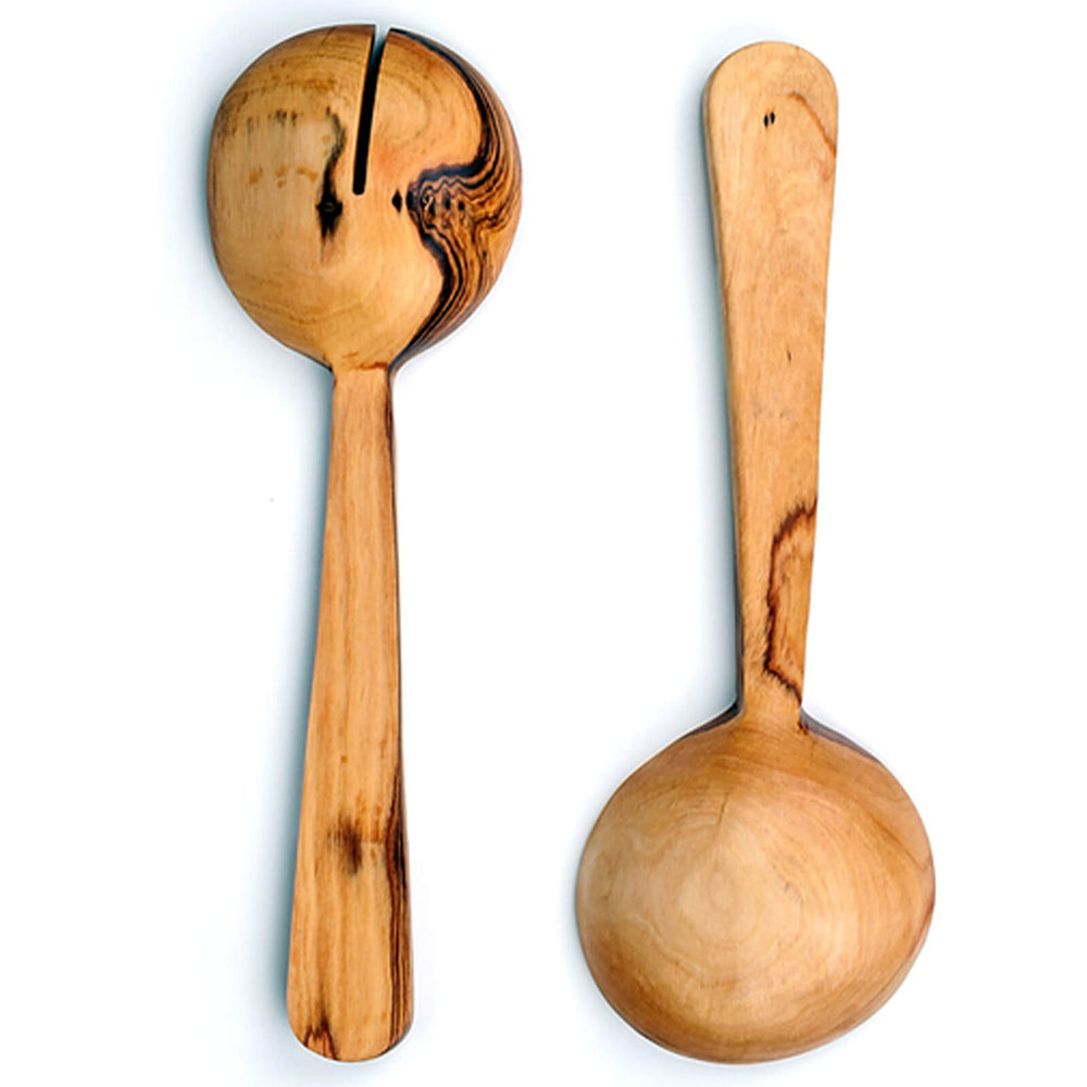 Hand Carved Olive Wood Serving Spoons with Bone Inlay