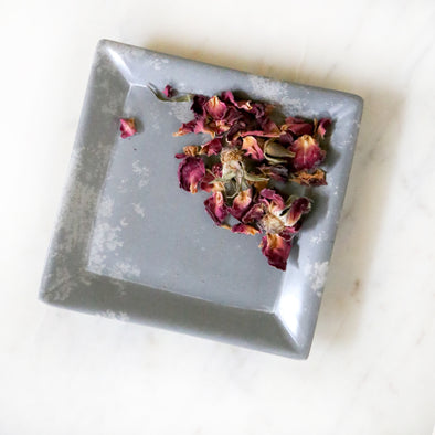 Small Square Soapstone Dish - Grey