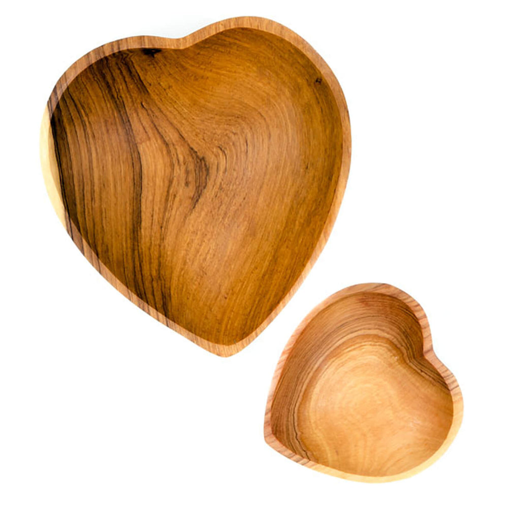 Hand Carved Olive Wood Heart Serving Bowl - Two Sizes