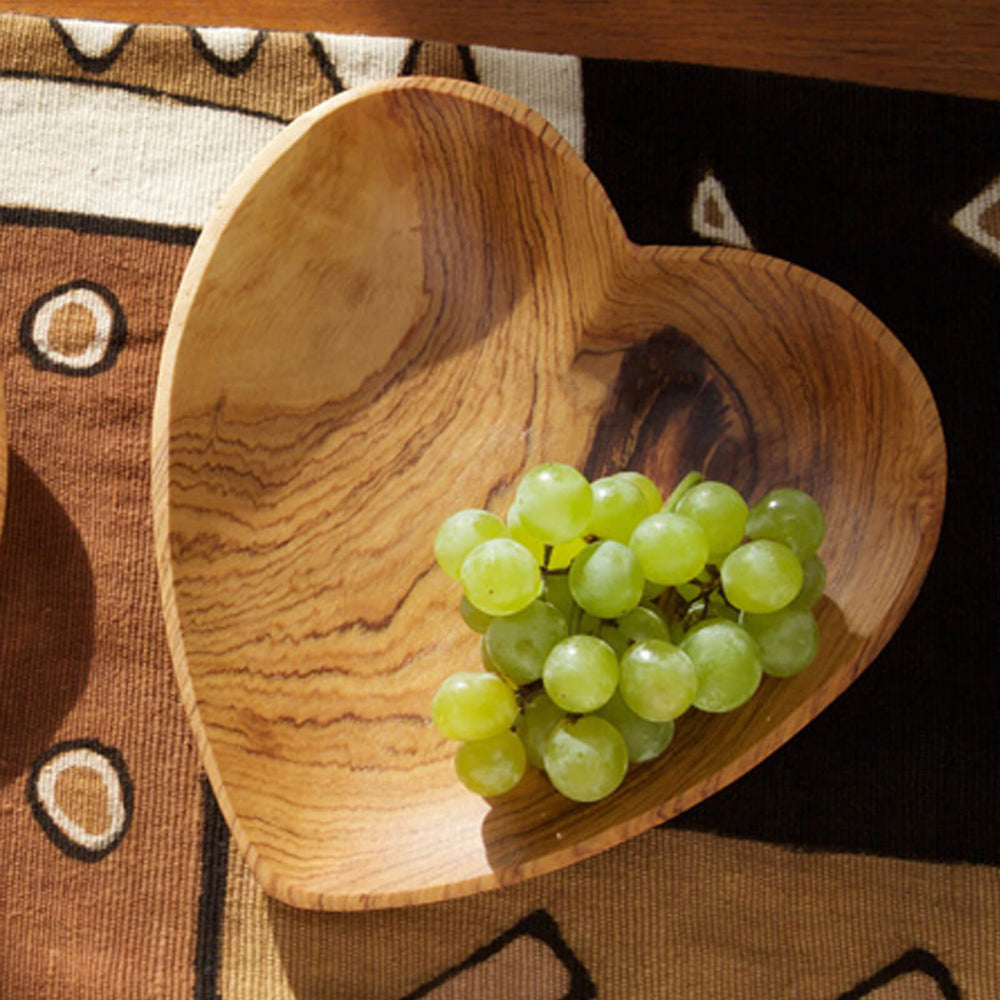 Hand Carved Olive Wood Heart Serving Plate - Two Sizes