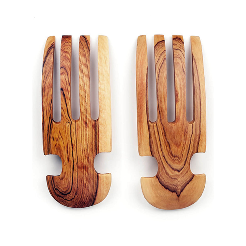 Hand Carved Olive Wood Salad Tossing Claws with Bone Inlay