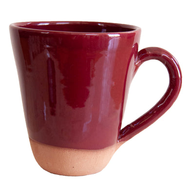 Handmade Moroccan Terra Cotta Mug - Bordeaux Red