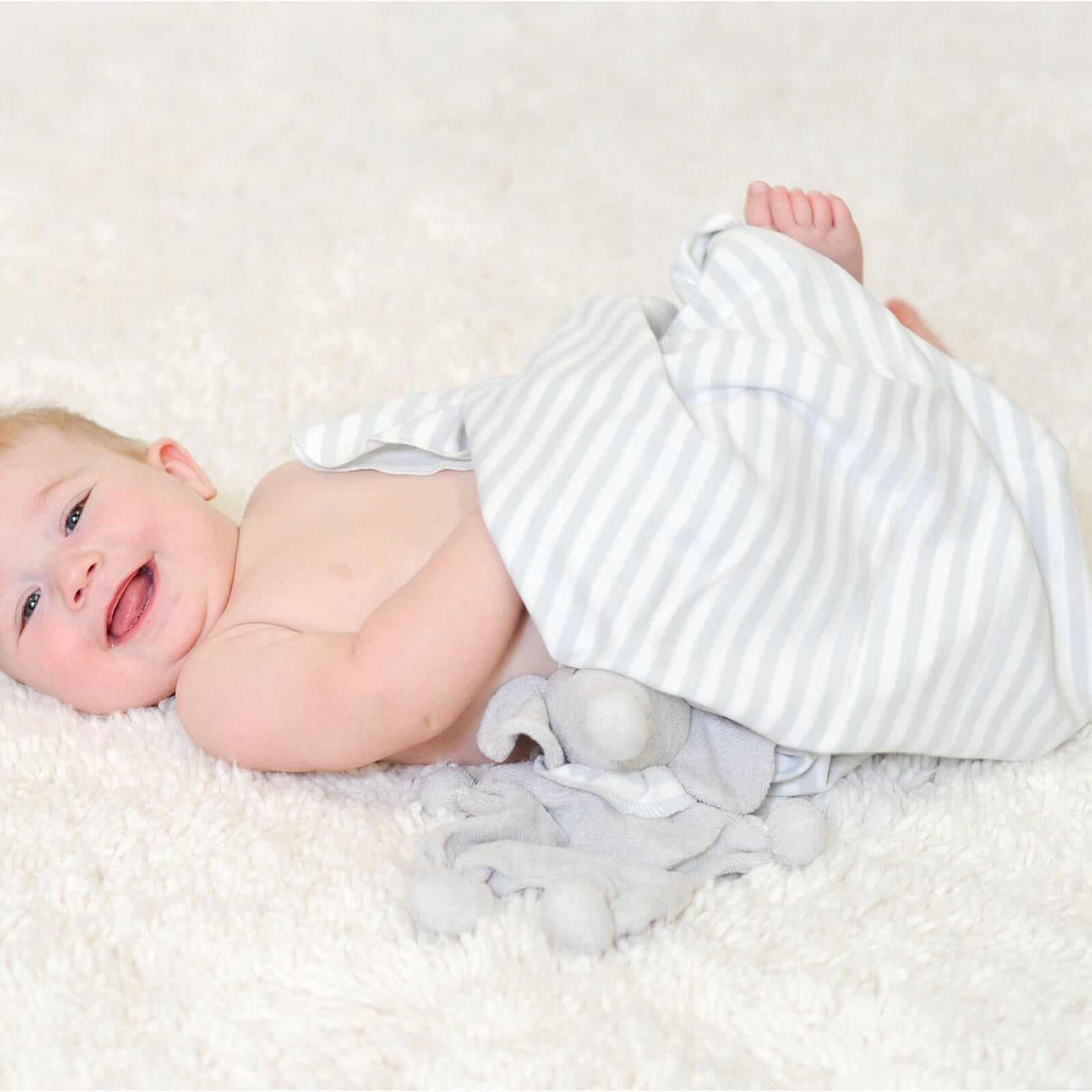 Organic Cotton Swaddle Blanket - White and Grey Striped Jersey