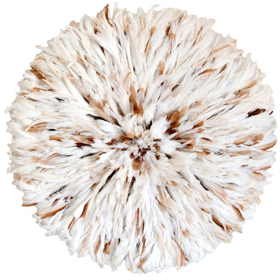 White and Tan speckled Authentic African juju hat