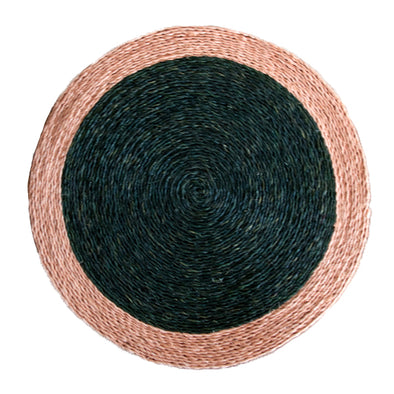 Hand woven circle placemat in olive green with blush pink trim